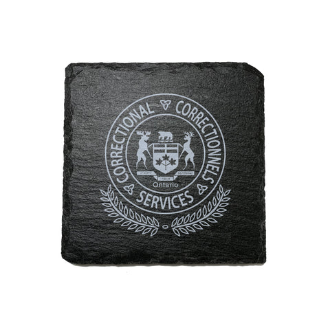 Ontario Corrections Stone Slate Coasters - Coaster - 911 Duty Gear - 911 Duty Gear Canada - Duty Patrol Gear and Gifts. Recessed Leather Badge Wallets and ID Holders, Neck & Belt Badge Holders, Notebook Cover for Evidence, Memo book, Triform Notepads for field interviews.