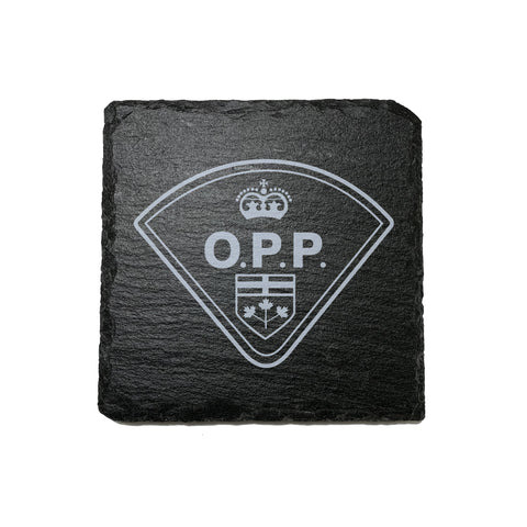 O.P.P. Stone Slate Coasters - Coaster - 911 Duty Gear - 911 Duty Gear Canada - Duty Patrol Gear and Gifts. Recessed Leather Badge Wallets and ID Holders, Neck & Belt Badge Holders, Notebook Cover for Evidence, Memo book, Triform Notepads for field interviews.