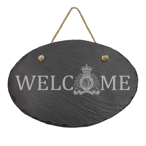 RCMP Oval Hanging Slate Decor - Slate Decor - 911 Duty Gear Canada - 911 Duty Gear Canada - Duty Patrol Gear and Gifts. Recessed Leather Badge Wallets and ID Holders, Neck & Belt Badge Holders, Notebook Cover for Evidence, Memo book, Triform Notepads for field interviews.