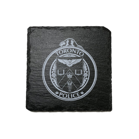 Toronto Police Stone Slate Coasters - Coaster - 911 Duty Gear - 911 Duty Gear Canada - Duty Patrol Gear and Gifts. Recessed Leather Badge Wallets and ID Holders, Neck & Belt Badge Holders, Notebook Cover for Evidence, Memo book, Triform Notepads for field interviews.