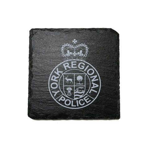 York Regional Police Stone Slate Coasters - Coaster - 911 Duty Gear - 911 Duty Gear Canada - Duty Patrol Gear and Gifts. Recessed Leather Badge Wallets and ID Holders, Neck & Belt Badge Holders, Notebook Cover for Evidence, Memo book, Triform Notepads for field interviews.