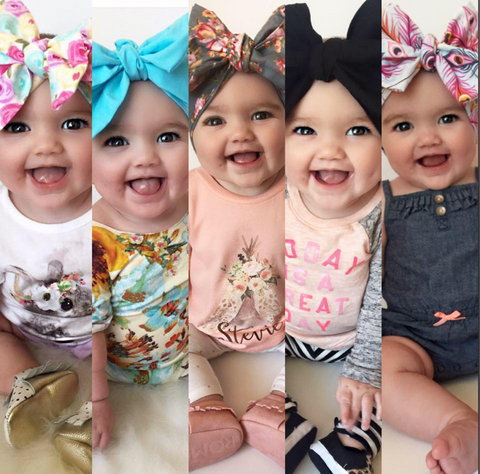 Stevie with different headbands, head bows, headwraps.