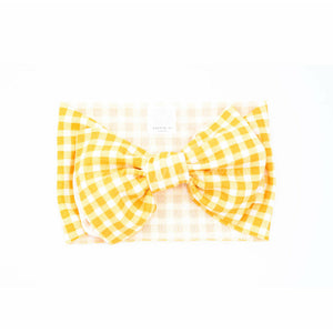"mustard gingham ""julia"" headwrap"