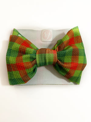 "green plaid (printed) ""chandler"" headwrap"