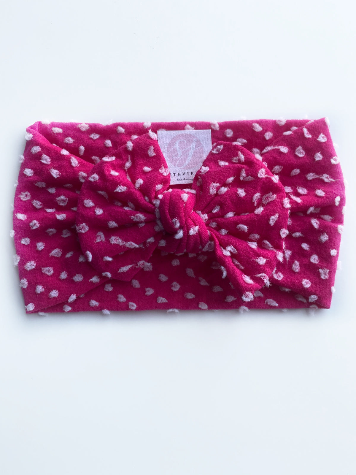 "pink • swiss dot ""classic"" nylon knot headwrap"