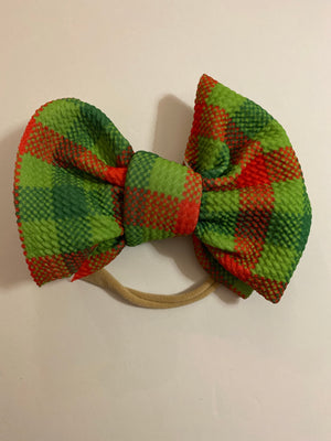 "green plaid ""chandler"" bow on nylon"