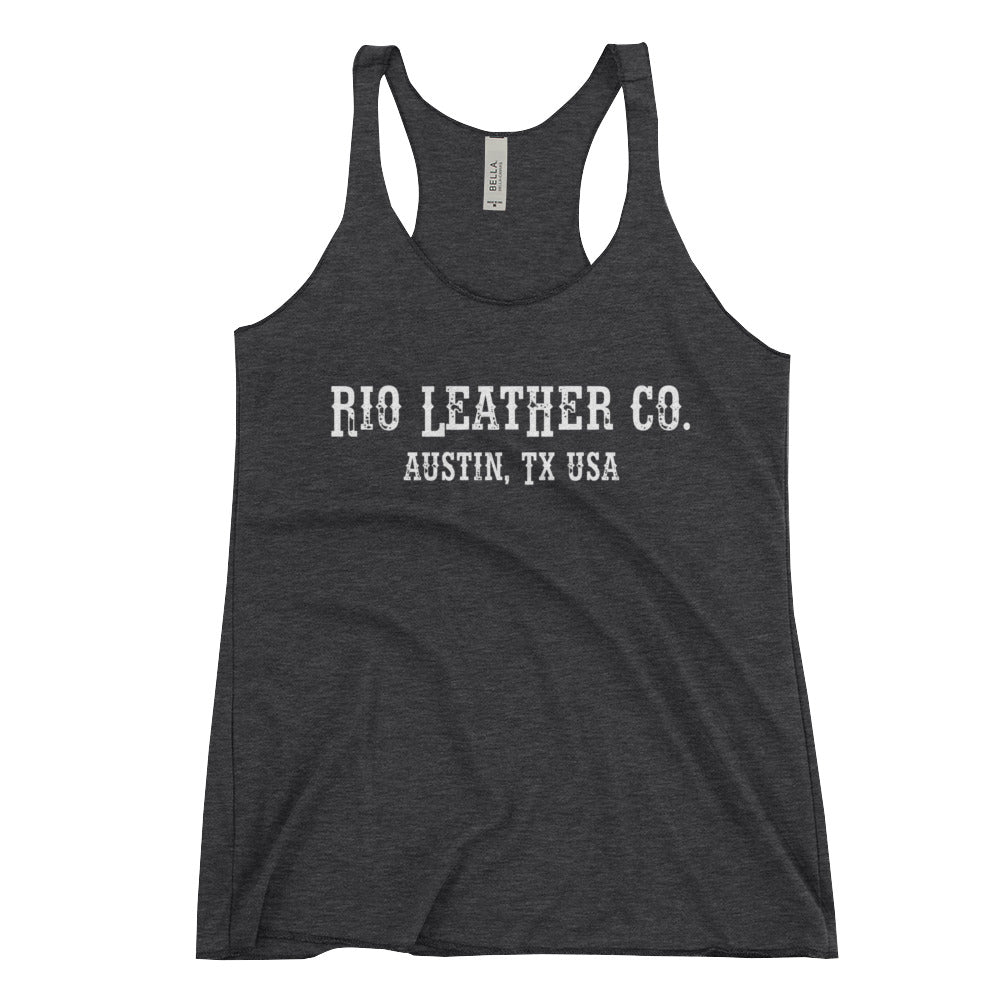 Women's Rio Leather Co. - White Font - Racerback Tank