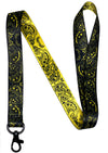 Musical Notes black lanyard with clip for keys or id badges.