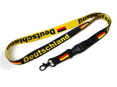 ID & Document Holders - Germany/Deutschland Flag Yellow/black Reversible Lanyard With Clip For Keys Or Id Badges.