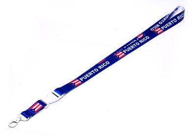 ID & Document Holders - Puerto Rico Blue/white Lanyard With Clip For Keys Or Id Badges.