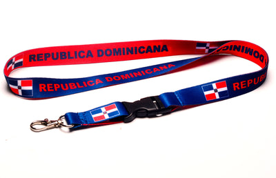 ID & Document Holders - Republica Dominicana Flag Reversible Blue Red Lanyard With Clip For Keys Or Id Badges.