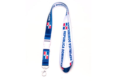 ID & Document Holders - Republica Dominicana Flag Reversible Lanyard With Clip For Keys Or Id Badges.
