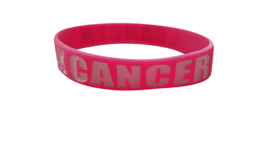Other Wholesale Lots - F Cancer Pink/White Silicone Wristbands