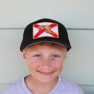 Youth Florida Flag Hat - Black Fitted