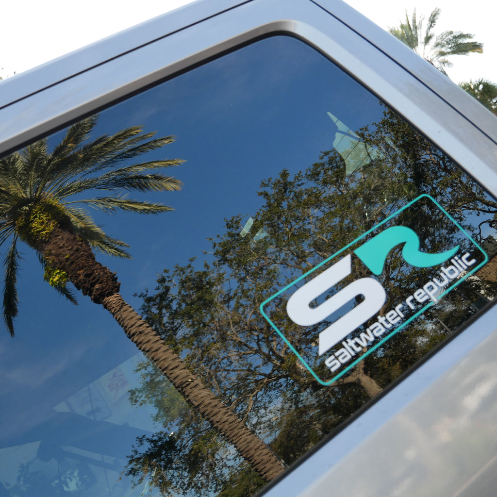 Classic SR Vinyl Decal - White & Teal
