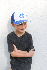 Youth Fitted Hat - Blue & White