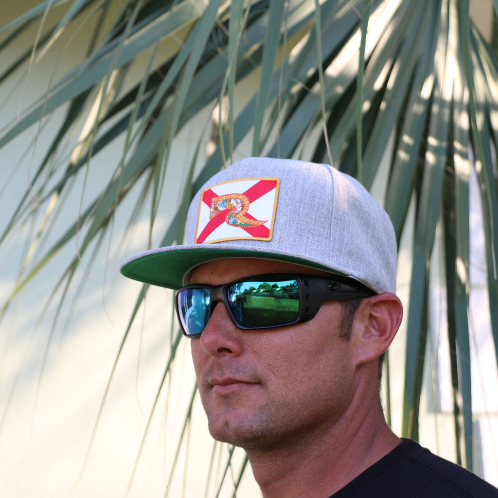 Florida Flag Hat - Heathered Grey Flatbill Snapback