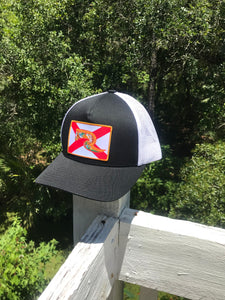 Florida Flag Hat - Black & White Snapback