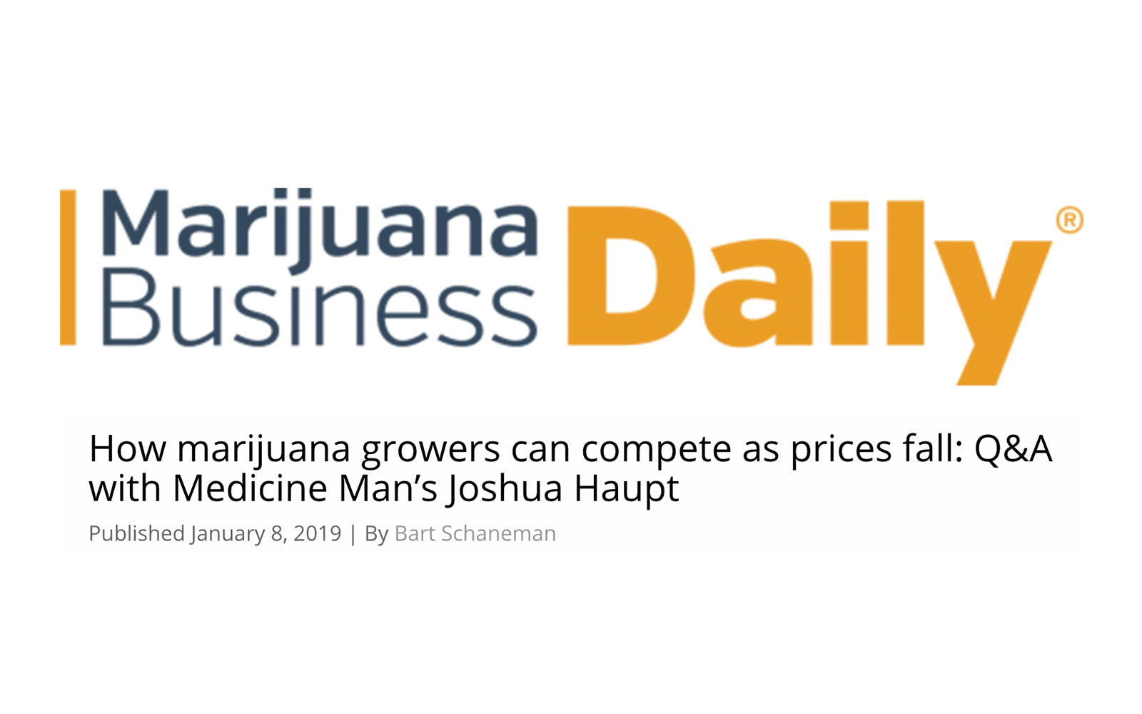 How marijuana growers can compete as prices fall: Q&A with Medicine Man's Joshua Haupt