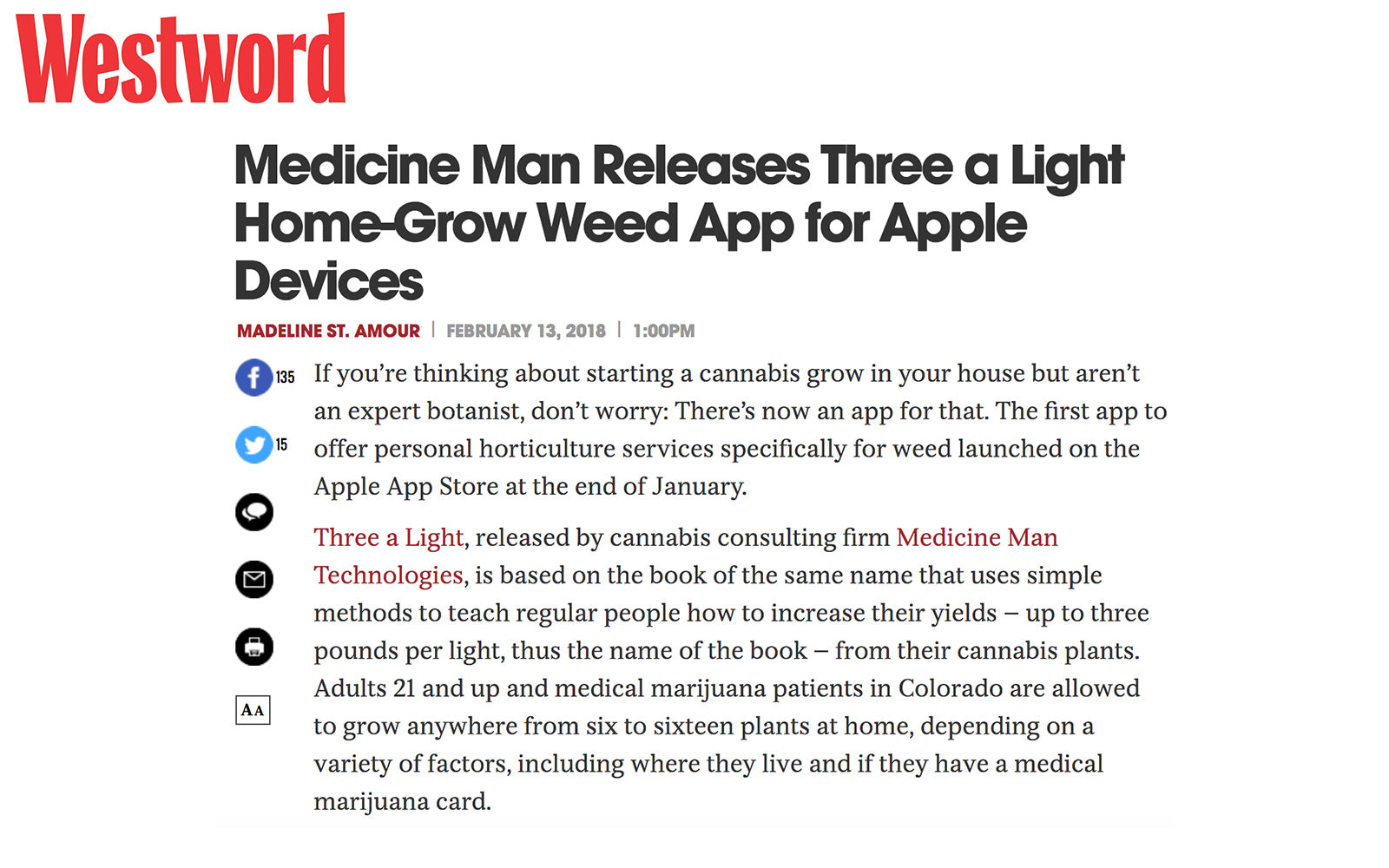 Westword - Medicine Man Technologies Releases Three a Light Home-Grow Weed App for Apple Devices