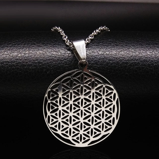 FLOWER OF LIFE  NECKLACE STAINLESS STEEL - Spiritual Swag