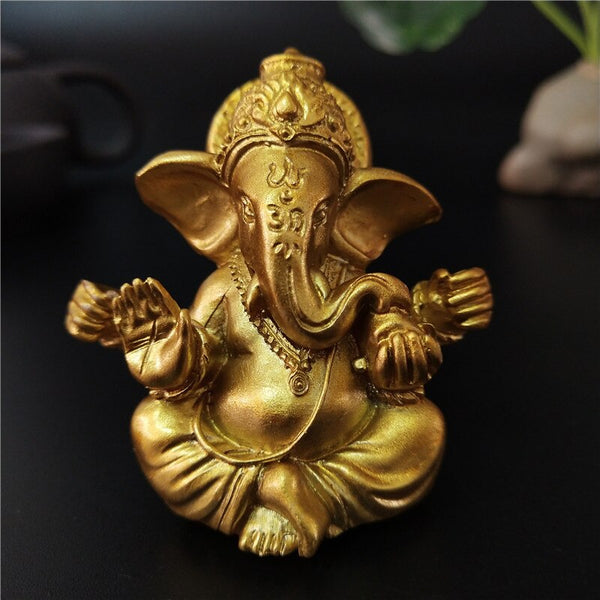 Gold Lord Ganesha Buddha Statue Elephant God Sculptures Ganesh Figurines Man-made Stone Home Garden Buddha Decoration Statues - Spiritual Swag