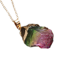 Load image into Gallery viewer, WATERMELON TOURMALINE CRYSTAL NECKLACE - Spiritual Swag