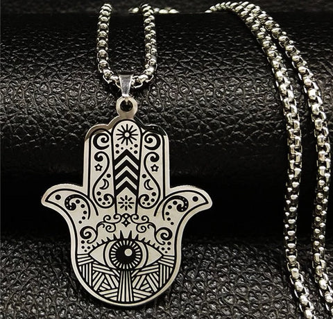 HAMSA HAND NECKLACE STAINLESS STEEL - Spiritual Swag