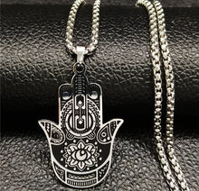 Load image into Gallery viewer, HAMSA HAND NECKLACE STAINLESS STEEL - Spiritual Swag