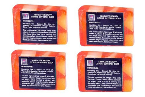 Citrus Glycerine Beauty Bathing Soap Bar Value Pack Natural Herbal Ayurvedic Fresh Beauty Soaps For Women Men With Combo Pack Offers Aroma Handmade Soap Combo 4 + 1 Red Sandal Soap Free (Buy 4 Get 1 Free) - 100 Grams Each, (Pack Of 5)