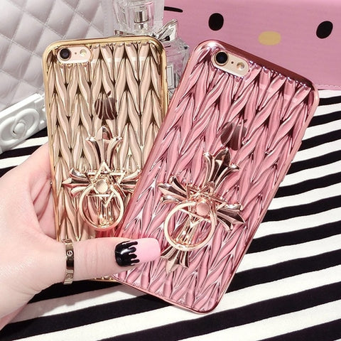 Luxury Plated Ring Holder iPhone Case