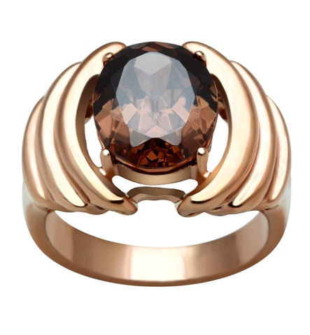 GL242 IP Rose Gold(Ion Plating) Brass Ring with