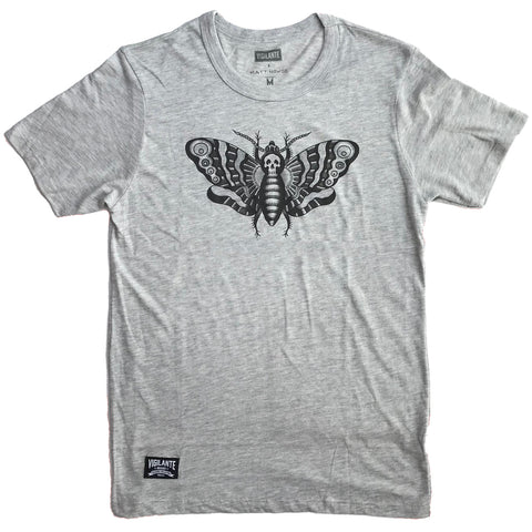 Death's Head Moth Vintage Tee - Light Grey