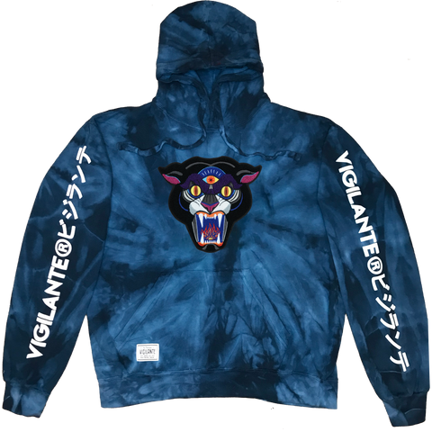 Mike Ritch | Panther Chenille Patch Tie Dye Pullover Hoodie - Blue