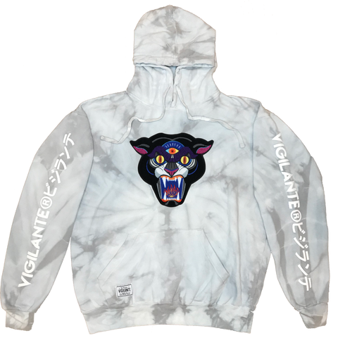 Mike Ritch | Panther Chenille Patch Tie Dye Pullover Hoodie - Silver