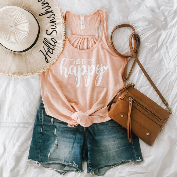 My Happy Flowy Racerback Tank-Peach Slub