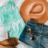 My Happy Flowy Racerback Tank-Mint