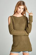 Olive Cold Shoulder Sweater