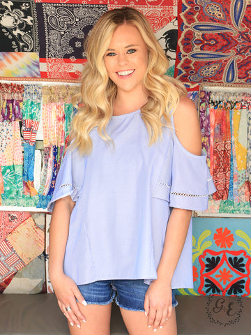 Casey's Cold Shoulder Pinstripe Top