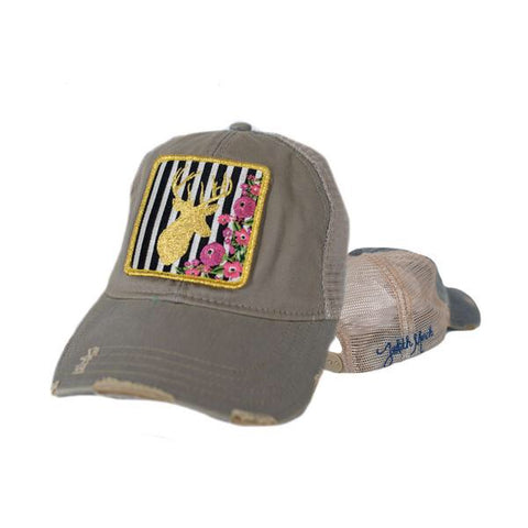 Judith March Stripe Deer Patch Cap