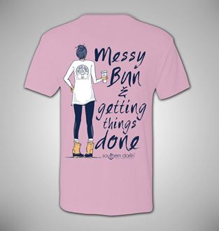 Messy Bun & Getting Things Done Tee in Light Pink