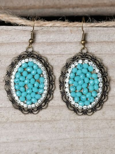 Southern Charm Oval Pendant Earrings-Turquoise