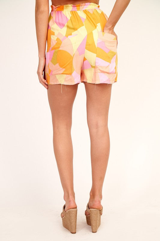 Flamingo Mosaic High Waist Shorts