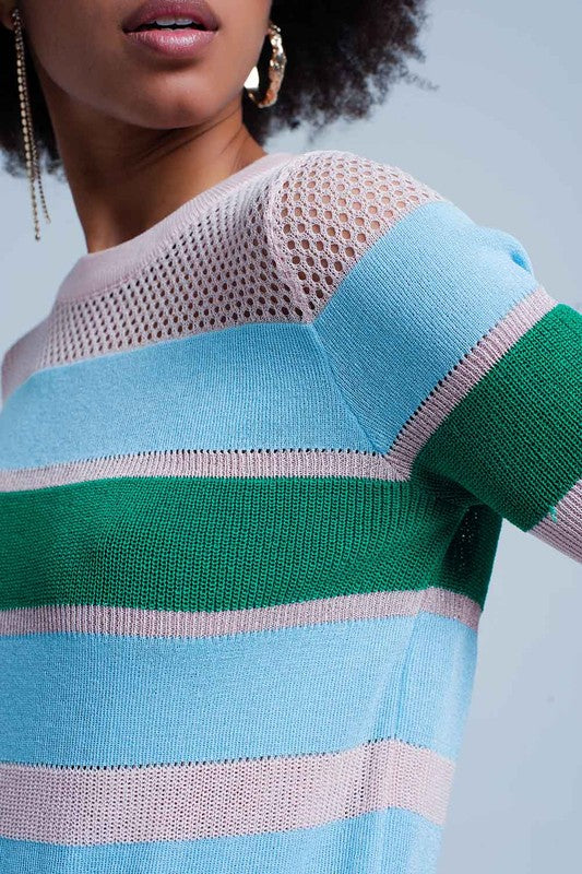 Blue Stripped Open Knit Short Sleeve Sweater