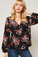 Floral Button-Down Peasant Top with Flared Hem