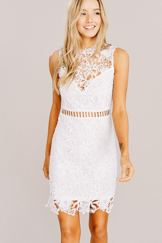 Lace White Mini Party Dress