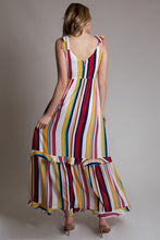 multi color vertical stripe print maxi dress