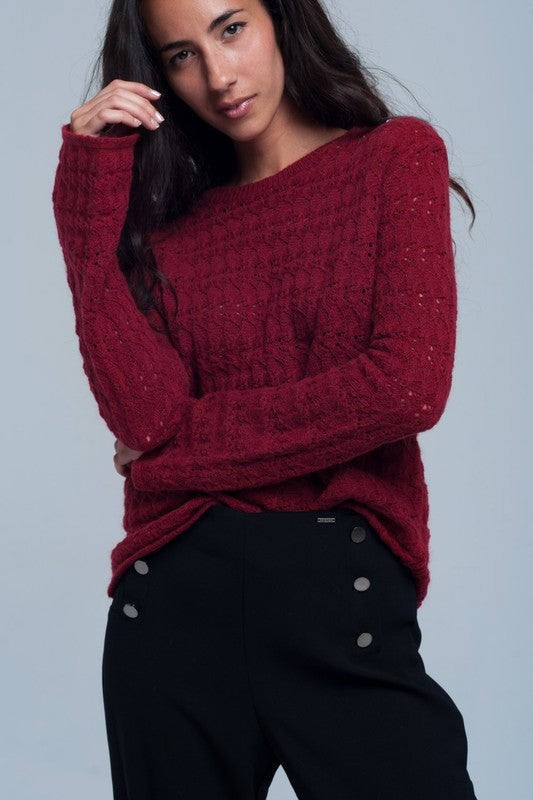 Red Knit Bell Sleeve Sweater