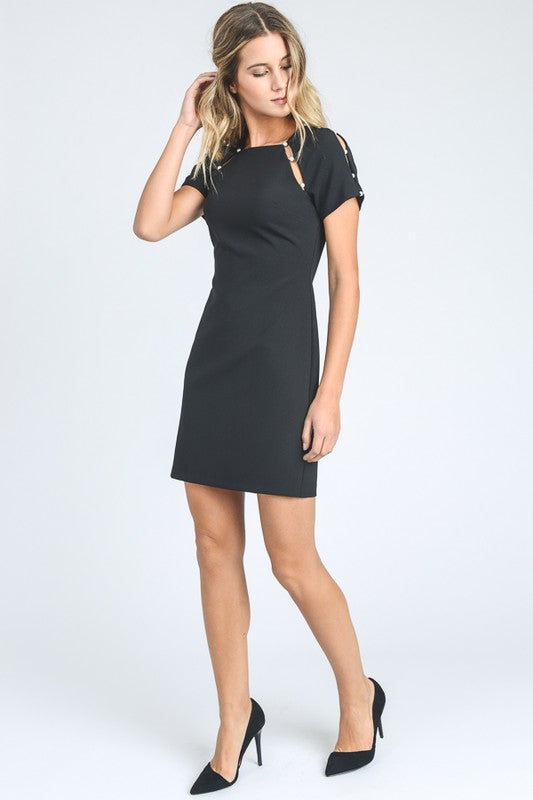 SHORT SLEEVE SOLID MINI SEMIFORMAL DRESS
