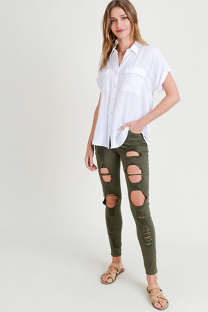 White Button Up With Back Yoke Slit